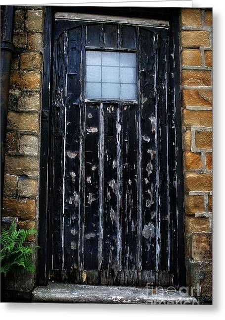 Garden Scene Digital Art Greeting Cards - Old Black Door Greeting Card by Michael Braham