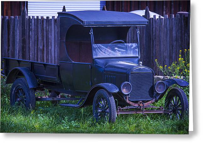 Forgotten Cars Greeting Cards - Old Black Ford Truck Greeting Card by Garry Gay