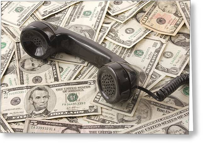 Communicated Greeting Cards - Old Black Phone Receiver On Money Background Greeting Card by Keith Webber Jr