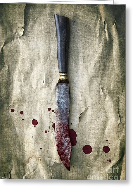 Violent Greeting Cards - Old Bloody Knife Greeting Card by Carlos Caetano