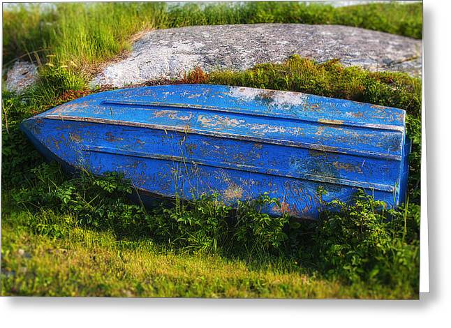 Old Blue Boat Greeting Card by Garry Gay
