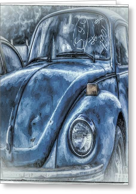80s Greeting Cards - Old Blue Bug Greeting Card by Jean OKeeffe Macro Abundance Art