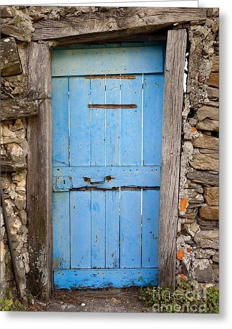 Entryway Greeting Cards - Old Blue Door Greeting Card by Brian Jannsen