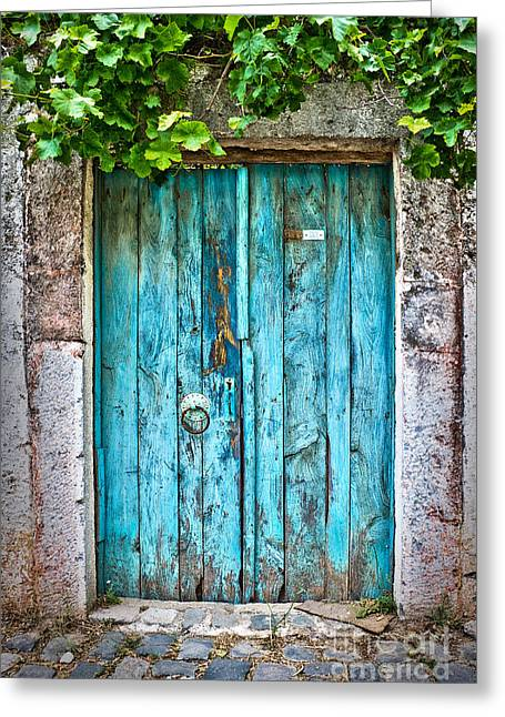 Mediterranean House Greeting Cards - Old blue door Greeting Card by Delphimages Photo Creations