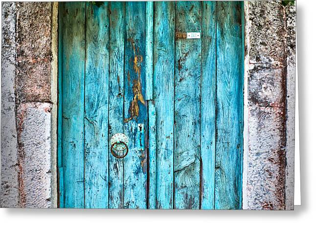 Old blue door Greeting Card by Delphimages Photo Creations