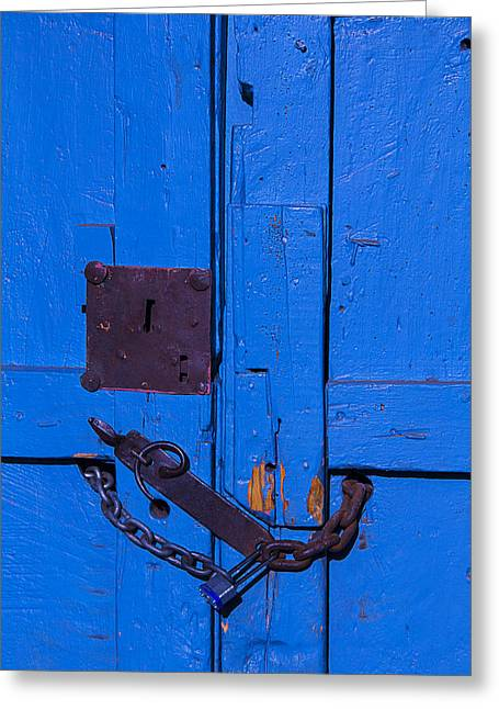 Blue Doors Greeting Cards - Old Blue Door Greeting Card by Garry Gay