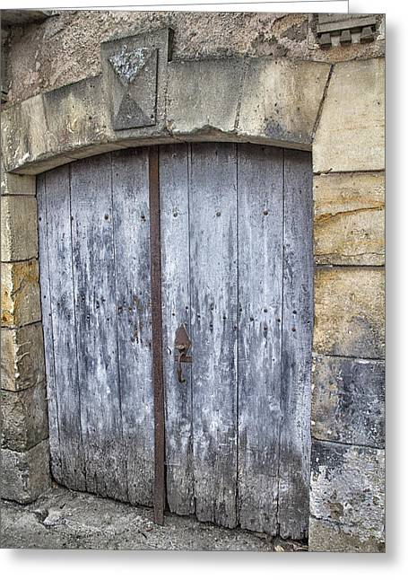 France Doors Greeting Cards - Old Blue Door in South-West France Greeting Card by Nomad Art And  Design
