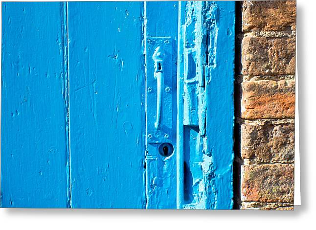 Sheds Greeting Cards - Old blue door Greeting Card by Tom Gowanlock