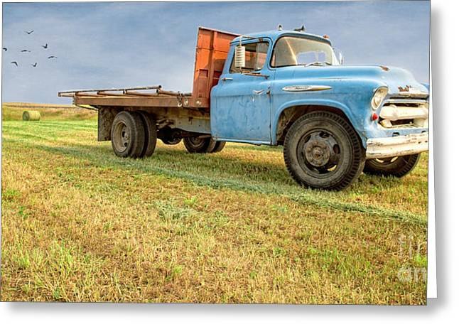 Field Workers Greeting Cards - Old Blue Farm Truck Greeting Card by Edward Fielding