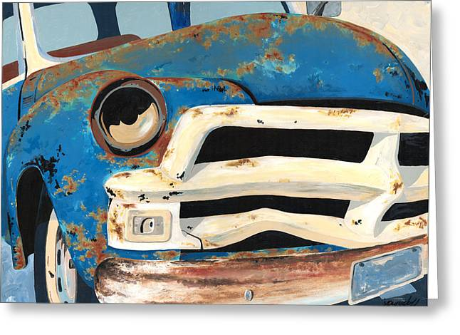 Junk Paintings Greeting Cards - Old Blue Greeting Card by John Wyckoff