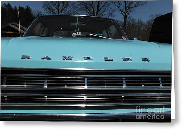 American Motors Corporation Greeting Cards - Old Blue Rambler 1 Greeting Card by Paddy Shaffer