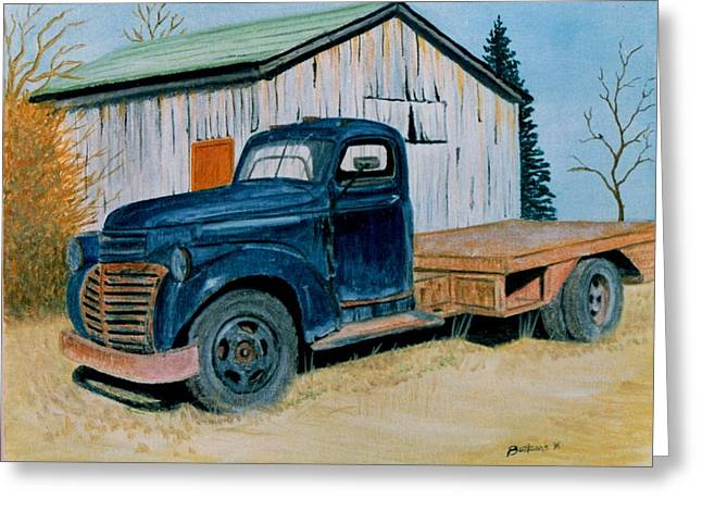 Photorealism Greeting Cards - Old Blue Greeting Card by Stacy C Bottoms