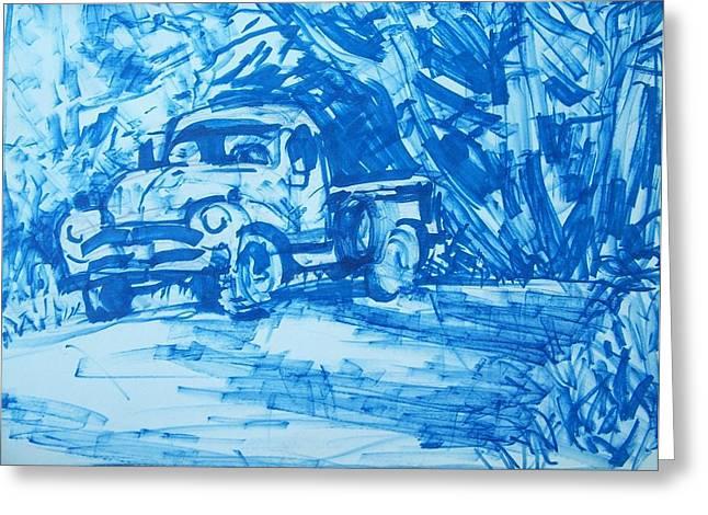 Sketchbook Greeting Cards - Old Blue Truck Greeting Card by Geoffrey Haun