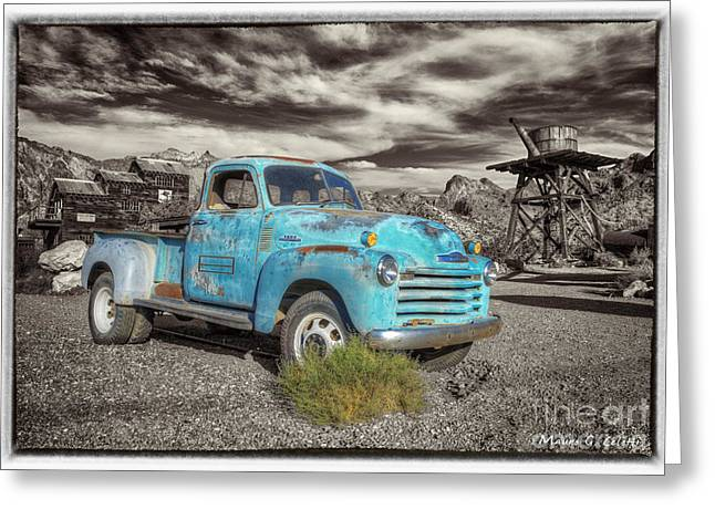 Abstract Digital Pyrography Greeting Cards - Old Blue Truck Greeting Card by Mauro Celotti