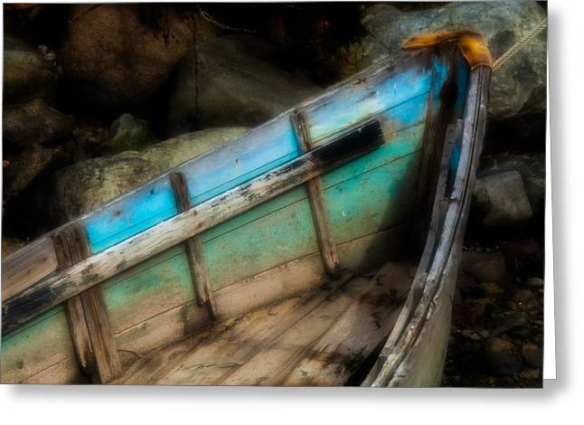 Maine Beach Greeting Cards - Old Boat 1 Stonington maine Greeting Card by David Smith