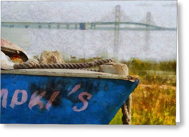 Mackinaw City Greeting Cards - Old Boat And Mackinac Bridge Greeting Card by Dan Sproul