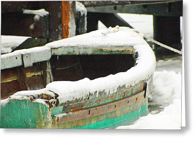 Town Mixed Media Greeting Cards - Old Boat in Ice Storm Greeting Card by AdSpice Studios