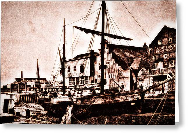 Keyside Greeting Cards - Old Boat In Lynn Greeting Card by Andrew Beeson