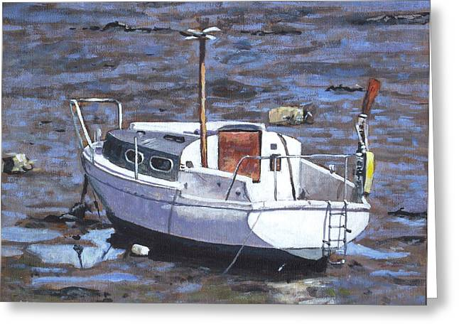 Southampton Paintings Greeting Cards - Old Boat On River Mudflats 1 Greeting Card by Martin Davey