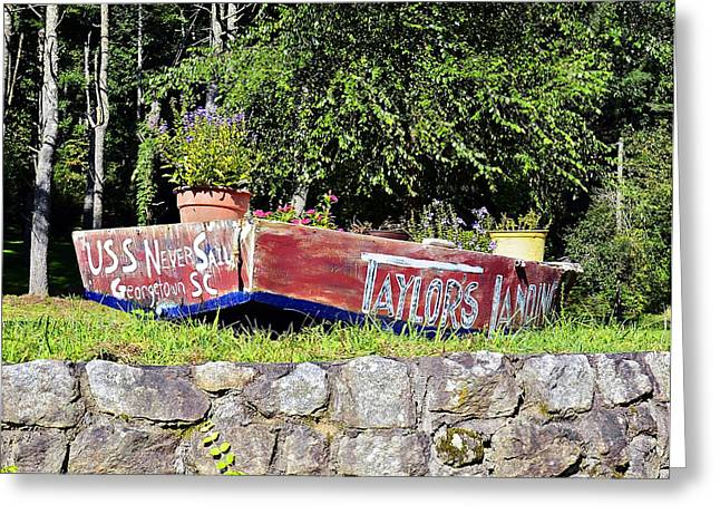 Old Boat Planter Greeting Card by Susan Leggett