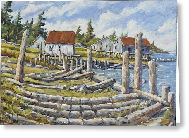 Exposure Paintings Greeting Cards - Old Boat Ramp Maine by Prankearts Greeting Card by Richard T Pranke