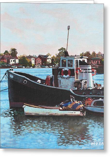 Southampton Water Paintings Greeting Cards - Old boats moored at St Denys Southampton Greeting Card by Martin Davey