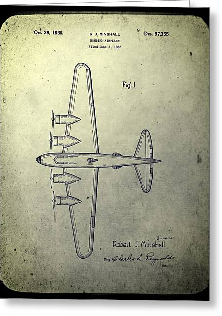 Bombs Mixed Media Greeting Cards - Old Bombing Aircraft Patent Greeting Card by Dan Sproul