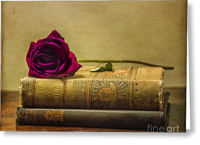 Stacks Of Books Greeting Cards - Old Book Love Greeting Card by Terry Rowe
