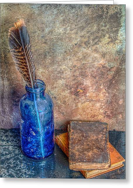 Interior Still Life Digital Art Greeting Cards - Old Books A Bottle and a Feather Still Life Greeting Card by Randy Steele