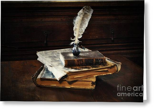 Old Books and a Quill Greeting Card by Mary Machare