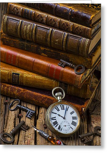 Wooden Table Greeting Cards - Old Books and Pocketwatch Greeting Card by Garry Gay