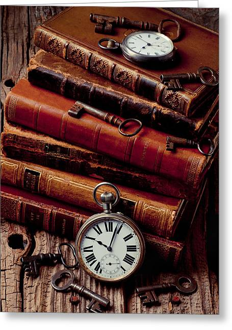 Unlock Greeting Cards - Old books and watches Greeting Card by Garry Gay