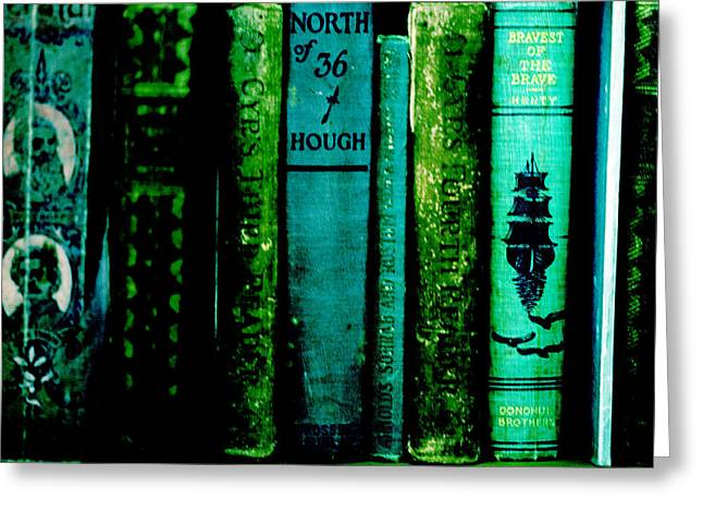 Blue And Green Mixed Media Greeting Cards - Old Books Greeting Card by Bonnie Bruno