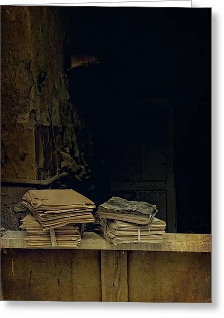 Old Books Greeting Card by Jaroslaw Blaminsky