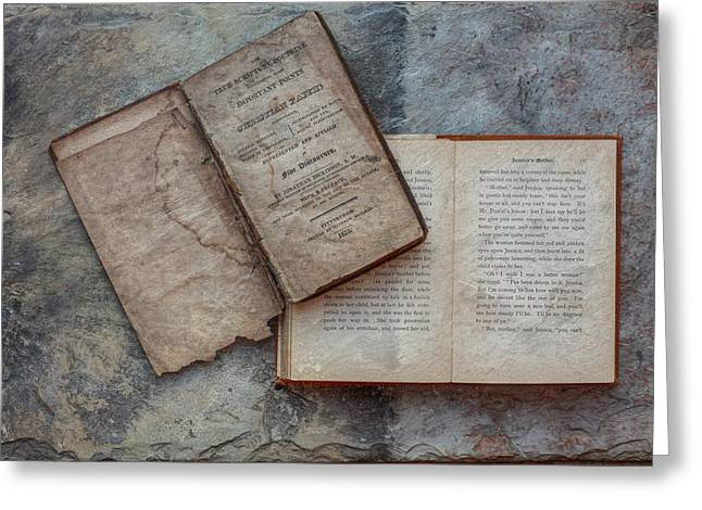 Tone On Tone Greeting Cards - Old Books on Slate Greeting Card by Randy Steele