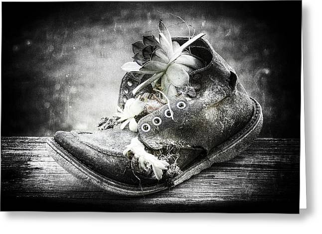 Boots Digital Art Greeting Cards - Old Boot Greeting Card by Nicole Spencer