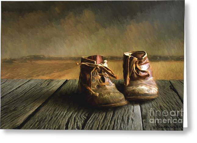 Harmonious Paintings Greeting Cards - Old Boots Greeting Card by Veikko Suikkanen