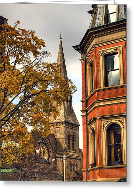 Autumn Scenes Greeting Cards - Old Boston Greeting Card by Joann Vitali