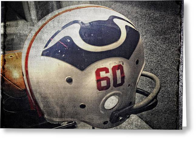 Foxborough Greeting Cards - Old Boston Patriots Football Helmet Greeting Card by Mike Martin