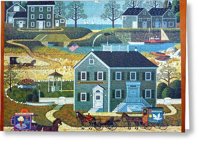 Historic Ship Greeting Cards - Old Boston Puzzle Greeting Card by Mountain Dreams