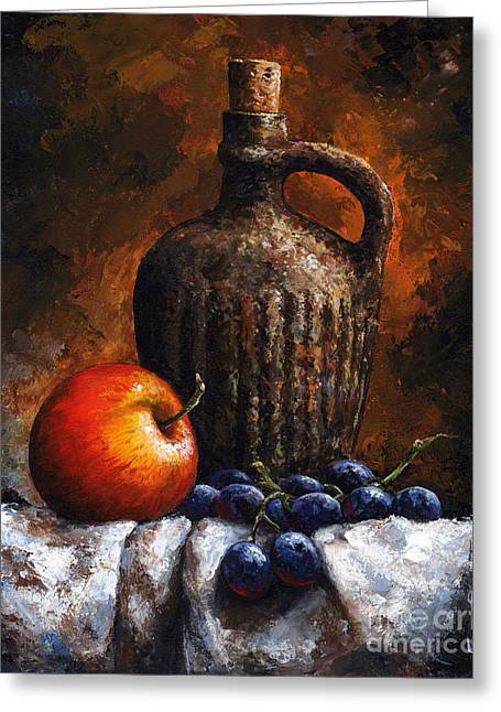 Blue Grapes Greeting Cards - Old bottle and fruit Greeting Card by Emerico Imre Toth