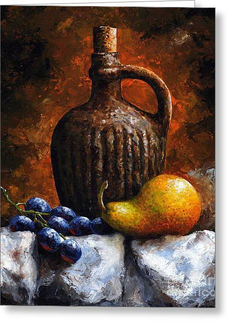 Object Mixed Media Greeting Cards - Old bottle and fruit II Greeting Card by Emerico Imre Toth
