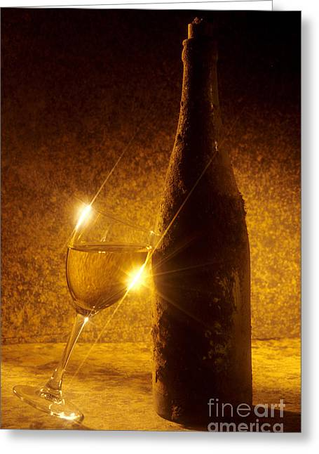 Interior Still Life Photographs Greeting Cards - Old bottle of  wine with a glass Greeting Card by Bernard Jaubert