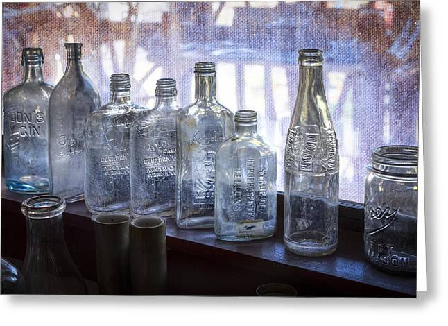 Label Greeting Cards - Old Bottles Greeting Card by Debra and Dave Vanderlaan