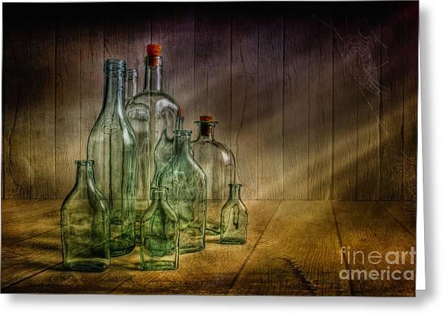 Old Bottles Greeting Card by Veikko Suikkanen