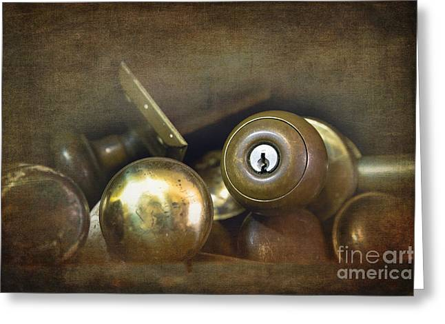 Discarded Greeting Cards - Old brass door knobs Greeting Card by Jane Rix