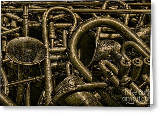 Old Brass Musical Instruments Greeting Card by David Gordon