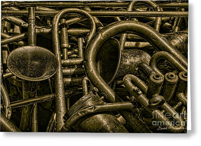 Chromatic Greeting Cards - Old Brass Musical Instruments Greeting Card by Dave Gordon