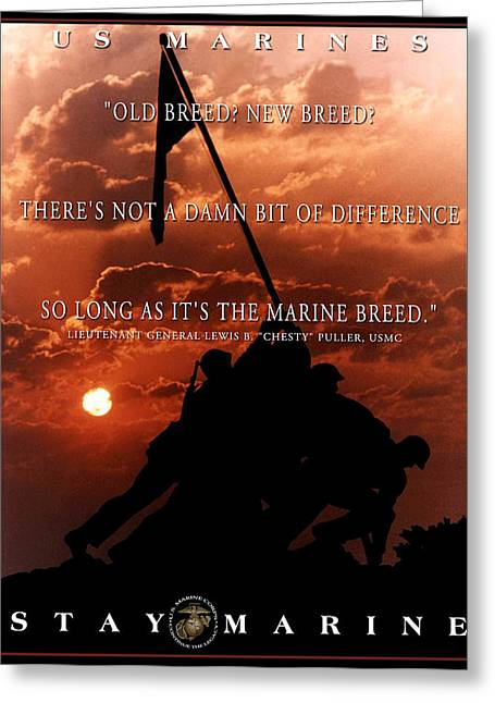 Chesty Puller Greeting Cards - Old Breed New Breed Greeting Card by Annette Redman