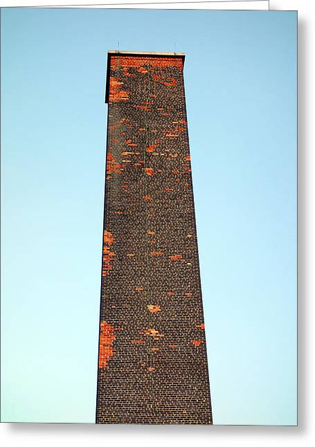 Industrial Background Greeting Cards - Old Brick Stack Greeting Card by Valentino Visentini